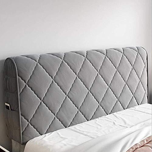 Nordischer Luxus-Bett-Kopfteil-Bezug aus elastischem Samt, 360 °, Abdeckung für Rückenlehne, staubdicht, Schutzhülle für Einzel-, Doppel-, King-Size-Kopfteil (Farbe: Grau, Größe: 120 cm)