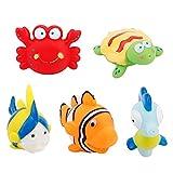 Juguete de baño para bebés, 5 piezas de animales de silicona suave flotante Juguetes para bañera de agua Juego de chorros en la bañera Baño Piscina Tiempo de baño para niños Niños pequeños Niños Niñas