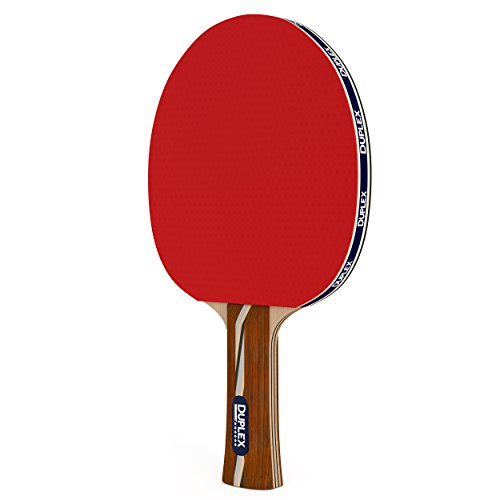 Duplex | 6 Star Ping Pong Paddle - Best Professional Table Tennis Racket with High Performance Rubber - Wooden Blade with Long Handle