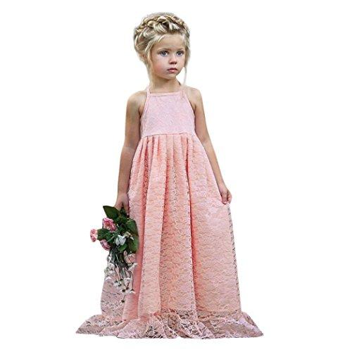 AMUSTER Festliches Mädchen Kleider Lange Brautjungfern Kinder Kleider Hochzeit Party Prinzessin Blumenmädchen Kleid Rückenfrei Party Formelle Kleidung