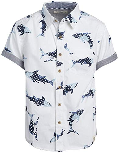Free Planet Boys' Shirt - Casual Short Sleeve Button Down Collared Shirt, Size 14/16, White Shark