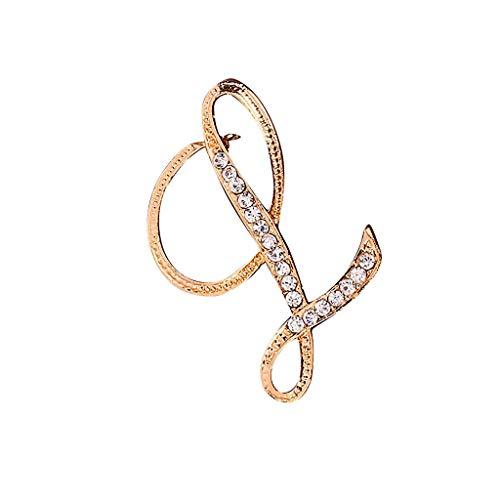 Feytuo 26 englische Buchstaben Brosche Gedenkschmuck, 1 STÜCK Kristall Paar Liebesgeschenke Gold L