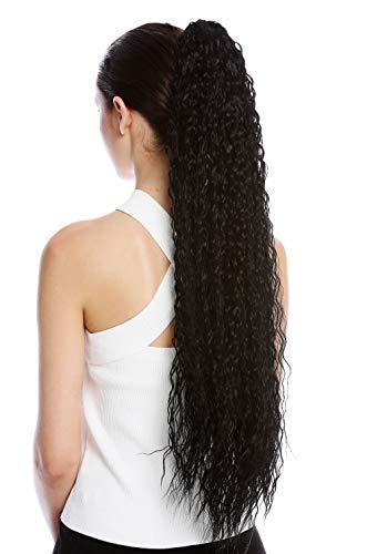 WIG ME UP - N857-V-1 Haarteil Zopf Pferdeschwanz extrem lang voluminös lockig Krepplocken gekreppt Afro Kinks Schwarz 75 cm