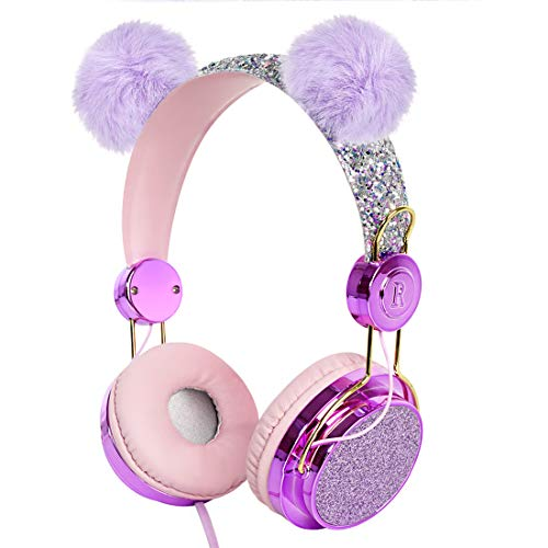 Geekria Kids Headphone with Microphone, Stereo Tangle-Free 3.5mm Jack Wired On-Ear Headset, Fit 5-12 Years Kids for Classroom and Online Education, Compatible with iPhone/iPad/Kindle/Laptop (Purple)