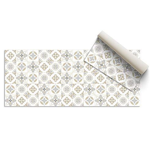 DON LETRA Alfombra Vinílica Baldosas, 80 x 40 cm, Color Beige, Vinilo PVC Estampado, Grosor 2.2 mm, ALV-087