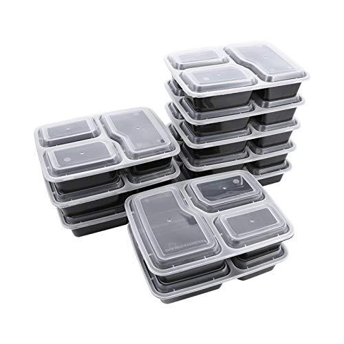 Recipientes de almacenamiento de alimentos de 10 piezas, fiambrera de plástico para preparar comidas para microondas con 3 compartimentos para el taller de la escuela de la oficina en casa