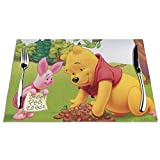 Wi_Nnie The Pooh Set of 6 Placemats,Washable Heat Resistant Non-Slip Dining Table Mats,Woven PVC Place Mat for Garden BBQ Outdoor