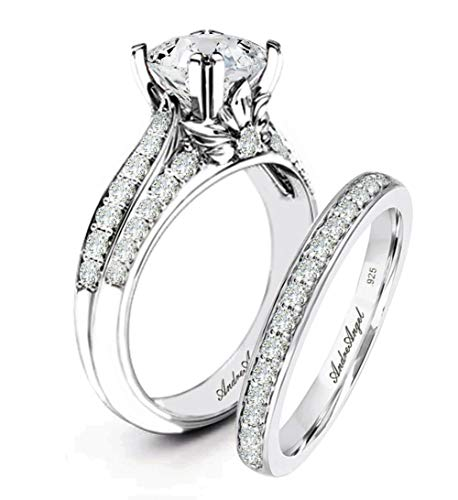 Wedding Ring Set Engagement Solid Sterling Silver 925 Rhodium Plating Cubic Zirconia Stones AAAAA+ Alternative to Diamonds 1.0 Carat Anniversary Valentines Promise Marriage Bridal Size 7