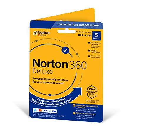 Norton 360 Deluxe 2020 | 5 Devices | 1 Year | Includes Secure VPN and Password Manager | PCs, Mac, smartphones and tablets | Activation Code by Post