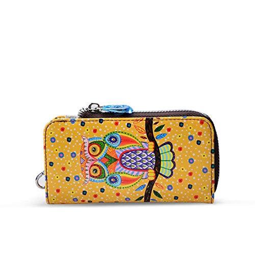 Shiyue Schlüsseletui für Damen, bedruckt, Leder, universal, Cartoon-Design, multifunktional, 14,5 x 2,5 x 8 cm Gelbe Eule 14.5*2.5*8cm