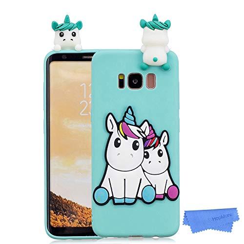 HopMore Funda para Samsung Galaxy S8 Silicona Dibujo 3D Divertidas Panda Animal Carcasa TPU Ultrafina Case Slim Antigolpes Caso Protección Flexible Cover Design Gracioso - Unicornio Verde