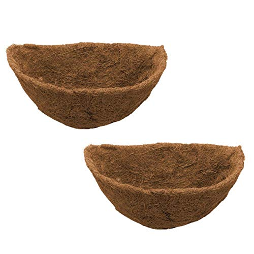 2PCS Deep Garden Coco Wall Basket Planter Coconut Fibre Basket Coco Liner Trough Wall Planter Coco Fiber Half Round Coco Liner Replacement Liners For Wall Hanging Baskets