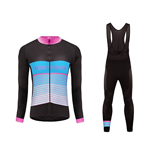 Uglyfrog Women's Cycling Clothing Set, Long Sleeve Cycling Jersey Thermal Fleece Windproof Mountain Bicycle Road Bike Shirt with Padded Pants