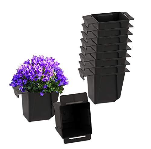 BigDean 10er Set Pflanzkasten inkl. Aufhänger für Europalette - Blumenkübel in Grau - LxBxH ca. 37 x 13,5 x 9,5 cm - Ideal zum Hängen & Stellen - Robust & wetterfest -