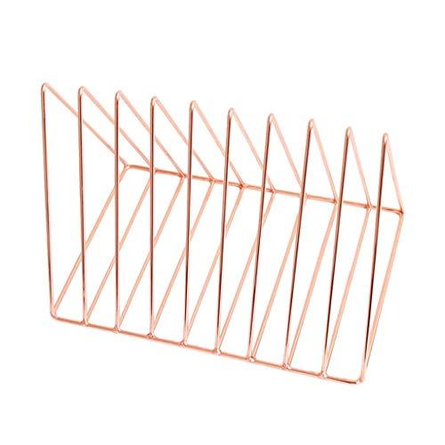 Bookcases Desktop Metal Bookshelf Triangle Enkel Bokhylla Böcker Tidning Hem Lagring Rack Bokhylla (Color : Pink)