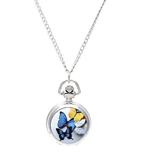 REFURBISHHOUSE Mujer Relicario Colgante Cuarzo Bolsillo Reloj Collar Cadena Esfera Retro Mariposa