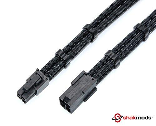 4pines 30cm Cable de extensión shakmods + 2peines de manga Negro CPU ATX placa base