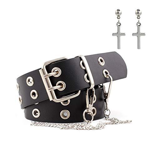 PPX Bangtan Boys BTS - Pendientes y cinturón de remaches con doble agujero de piel para hombre y mujer, cinturón de piel, cinturón vaquero, cinturón liso de piel, color negro