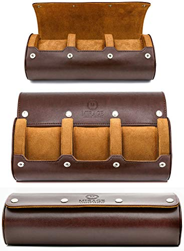 Watch Travel Case - for Men - for Women - Watch Roll Travel Case Organizer Display - Watch Case - Watch Organizer - Swiss Motif Classy Espresso