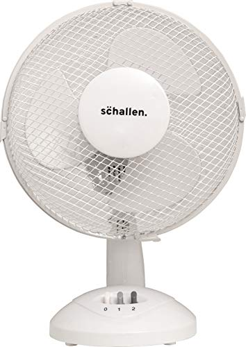 Schallen Small 9' Portable Desk Table Oscillating Cooling Fan with 2 Speed Setting & Quiet Operation (White)