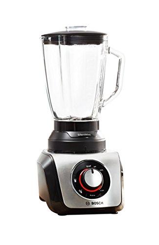 Bosch SilentMixx MMB65G0M - Batidora de vaso, 800 W, 2.3 litros, selector de velocidad variable con diferentes programas, cuchillas Easy KlickKnife, jarra termoresistente, color negro y acero