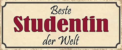 Deko7 Plaque en tôle Inscription Beste Studentin der Welt 27 x 10 cm
