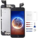 Mobkitfp for iPhone 6 Screen Replacement with Home Button Black, Full Assembly LCD Display Front Camera+Ear Speaker+Sensor, Touch Screen Digitizer Replacement for A1549, A1586, A1589