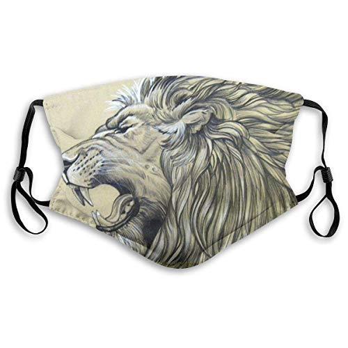 Halloween verstellbare Earloop Gesichtsmaske Roaring Lion Staubdichte Sicherheitsmundmaske mit 2 STK. Aktivkohlefilter