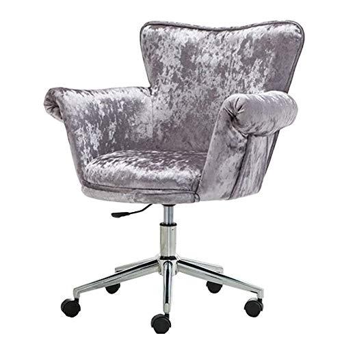 Silla Giratoria, silla de salón de computadora con respaldo medio de oficina en casa con pata de acero, sillón de terciopelo púrpura ajustable, silla de maquillaje tapizada, silla de bar, diseño mod