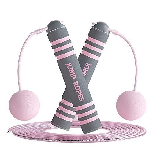 MUGUT Springseil,Verstellbare Speed Rope,Seilspringen mit Profi Kugellager & Anti-Rutsch Griffe,für Training, Fitness, Jump Rope ohne seil für Kinder und Erwachsene-Rosa