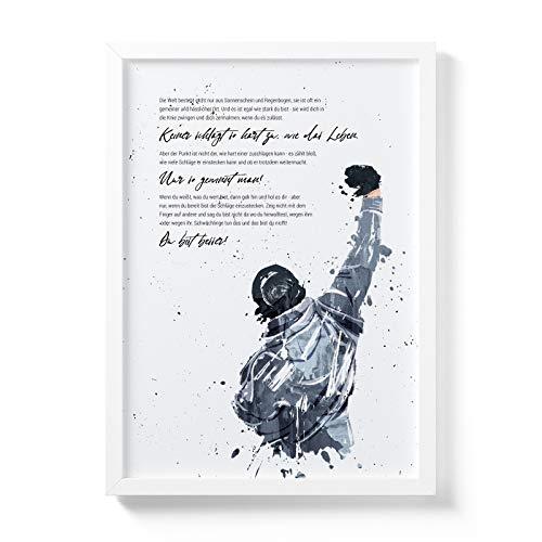 Art Bakery Rocky Balboa Zitat Premium Poster - Bild mit Spruch zur Deko - Motiv ohne Rahmen in DIN A3 für Motivation