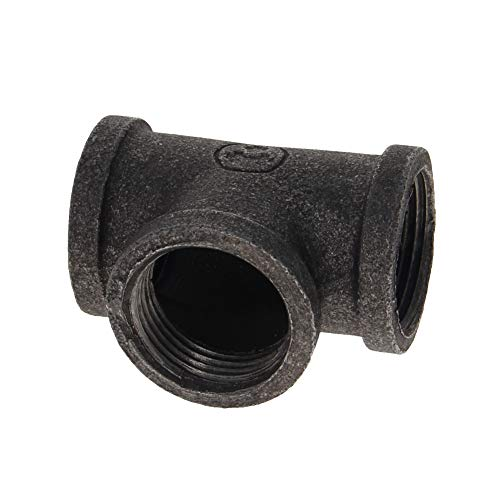 MroMax Pipe Nipples G3/4 Pipe Threaded Pipe Nipples - Cast Pipe Fittings - Industrial Piping Tees for Plumbing Pipe Shelf and DIY Steampunk Vintage Pipe Furniture Projec, Gray Black 10 Pcs