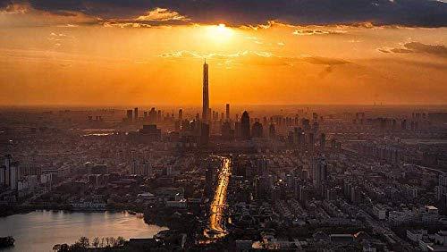 OUCUCK Jigsaw Puzzle per Adulti Fotografia Aerea dello Skyline della Città Durante Il Tramonto 1000ps