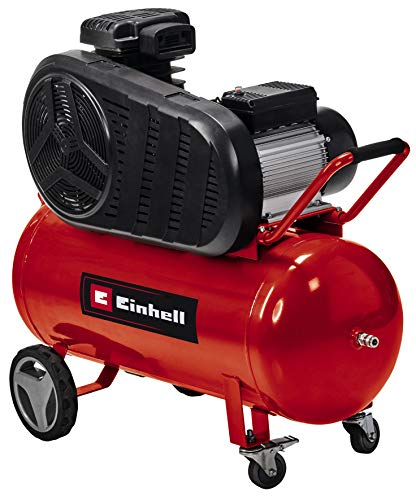 Einhell Kompressor TE-AC 430/90/10 (3000 W, 2850 (1/min), 430 L/min Ansaugleistung, Riemenantrieb, bis 10 bar, 90 l-Tank, ölgeschmierte Pumpe, großer Räder, hohe Abgabeleistung)