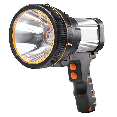 AF-WAN Linterna de mano recargable por USB, recargable, 6000 lúmenes, linterna LED, linterna con 5 modos de iluminación, resistente al agua, foco de búsqueda LED, recargable, para camping (plateado)