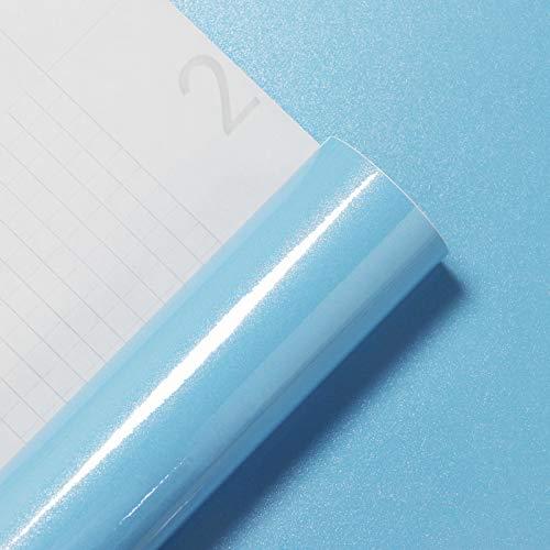 CiCiwind Möbelfolie Blau Tapete Wasserfest Klebefolie Selbstklebend Glanz Glatt Aufkleber für Tisch Küchenfolie Küchenschrank Möbel Wandaufkleber Vinyl Glitzer Dekorfolie 40 X 200cm Oberflächenschutz