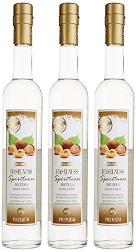 Dolomiti Haselnuss-Schnaps Premium Spirituose 40% vol. | Haselnussschnaps | 3 x 0.5 Liter 3028