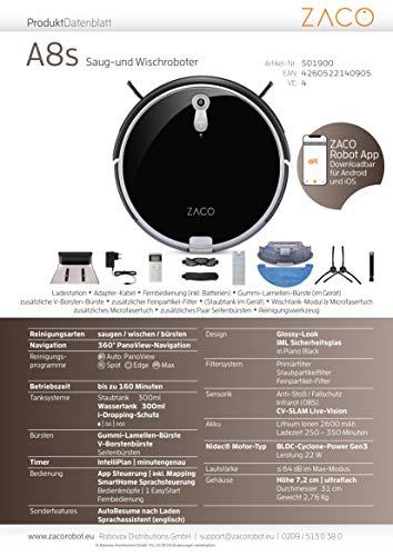 ZACO A8s Saugroboter mit Wischfunktion, App & Alexa Steuerung, 7,2cm flach, automatischer Staubsauger Roboter, 2in1 Wischen oder Staubsaugen, für Hartböden, Fallschutz, mit Ladestation - 11
