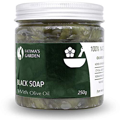 Fatima's Garden Schwarze Seife (Beldi-Seife) mit Olivenöl | 100% natürliche marokkanische schwarze Seife, Körperpeeling, rein & natürlich, reinigend, Peeling für das...