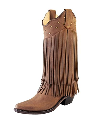 Old West Women's Fringe Western Boot Snip Toe Brown 9.5 M