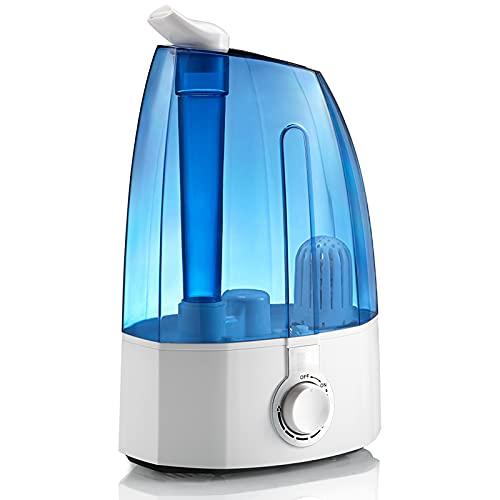 Umidificatore,ad ultrasuoni per bambini 3,5 l, 30 W (filtro in ceramica ultrafine, doppio ugello a 360 °, protezione per basso livello dell'acqua, indicatore LED, uscita nebbia fino a 300 ml / h)