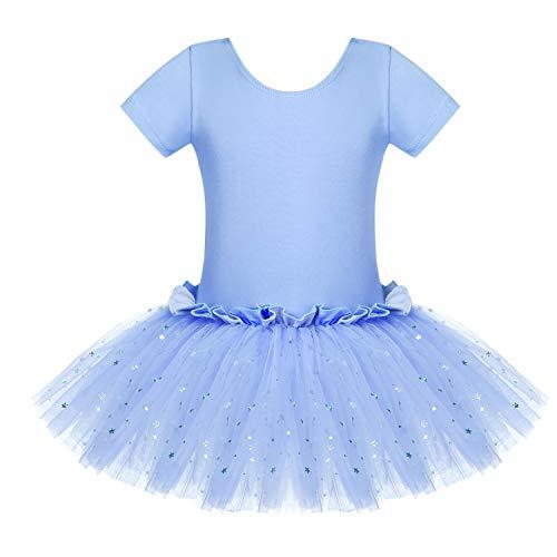 Bricnat Vestido de ballet para niña, vestido de danza, manga corta, algodón, maillot de ballet con falda tutú azul 122 128