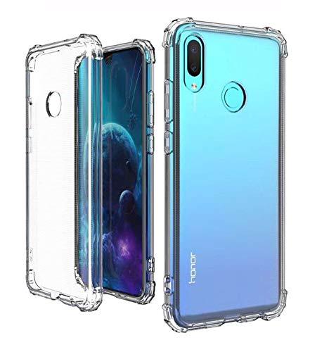 New&Teck : Coque Huawei P Smart 2019 Bumper en Silicone TPU Transparent/Coins renforcés et Protection Ultra Fin, Souple
