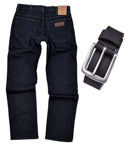Wrangler Texas Stretch Herren Jeans Regular Fit inkl. Gürtel (W48/L34, Blue Black)