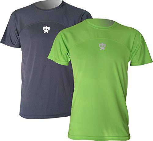 Pack x2 Unidades Camiseta EKEKO Model Chariots of Fire, Camisetas técnicas Multideporte Que combina 2 Tejidos Microfibra. Especifica para Running y Deportes en General (XL, Negra/Verde)
