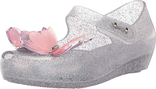 Melissa Girls Mini Ultragirl Fly III BB Ballet Shoes, Silver Glitter, Size 9 Toddler