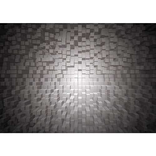 Premium Plus Fleece Photo Wallpaper Wall Mural Photo Wallpaper–3D Shapes Squares–No. 1338, grey, 416x254cm Vlies
