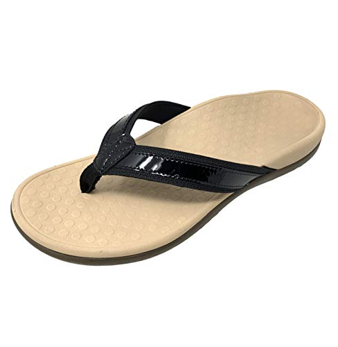 Vionic Women's Tide II Toe Post Sandal - Ladies Flip Flop with Concealed Orthotic Arch Support Black Tan 7 Medium US