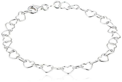 Sterling Silver 5.3mm Heart-Link Bracelet, 7.25