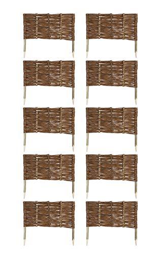 MC.Sammler 10 x Beeteinfassung aus Weide 16 Größen Weidenzaun Rasenkante Beetbegrenzung Steckzaun imprägniert mit Buchepflöcken für leichtes Einsetzen Länge: 60 cm Höhe: 30 cm
